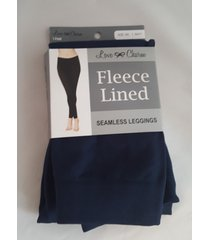 love charm fleece lined seamless leggings new in pack navy blue s/m  size 4-6