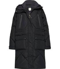 elongated puffer gevoerde lange jas zwart lee jeans