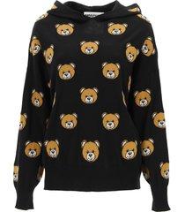 moschino hooded sweater with teddy bear intarsia