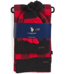 us polo association women's red/black check beanie hat/scarf/gloves gift set
