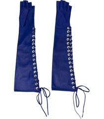 manokhi fingerless lace-up gloves - blue
