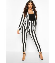 stripe longline blazer & skinny trouser co-ord, black