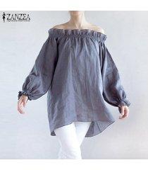 zanzea largo para mujer de la linterna de la manga elástica de un hombro cascada suelta camisa de la blusa gris -gris