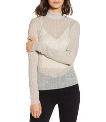women's chelsea28 metallic turtleneck sweater, size xx-small - ivory