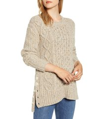 women's alex mill button side aran wool blend sweater, size large - brown