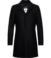 holger compact melton coat wollen jas lange jas zwart j. lindeberg