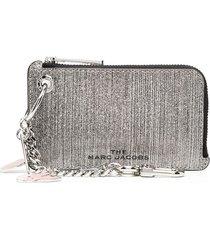 marc jacobs glitter stripe coin purse - silver