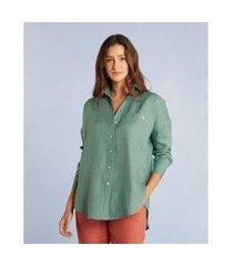 camisa glaucia new em linho com manga longa e bolso cor: verde - tamanho: pp