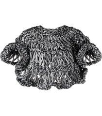 comme des garçons noir kei ninomiya chunky open-knit top - black