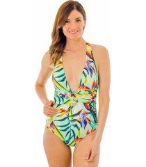 traje de baño amarras flor del tropico verde ac mare