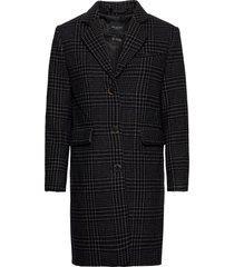 slfelina wool check coat b yllerock rock svart selected femme