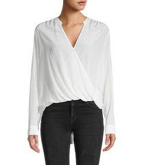 draped surplice silk blouse