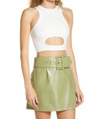 by. dyln by. dyln margot cutout crop top, size x-small in white at nordstrom
