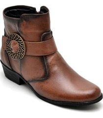 bota coturno couro feminino zíper cano médio lisa