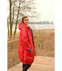 bardzo ciepła kurtka z kapturem czerwona