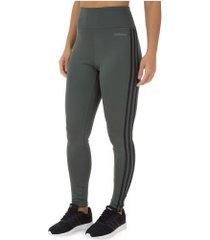 calça legging adidas d2m 3s hr lt - feminina - cinza escuro/preto