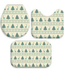 jogo tapetes love decor para banheiro renas e pinheiros natal único