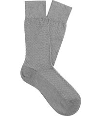 men's suitsupply grid texture dress socks, size large - grey
