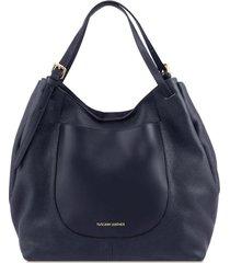 tuscany leather tl141515 cinzia - borsa shopping in pelle morbida blu scuro