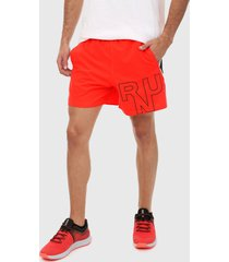 pantaloneta naranja-negro-blanco under armour launch sw branded 5