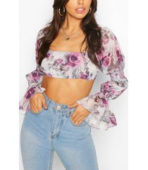 woven floral sleeve detail crop top, purple