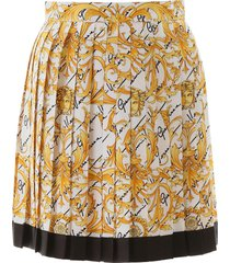 versace barocco signature pleated mini skirt