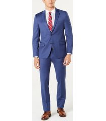 tommy hilfiger men's modern-fit th flex stretch medium blue twill suit