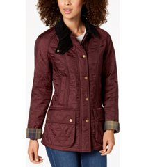 barbour beadnell polarquilt plaid-trim utility coat