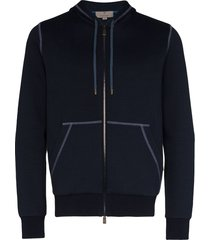canali contrast stitched hoodie - blue