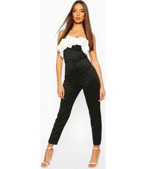 bandeau contrast ruffle jumpsuit, black
