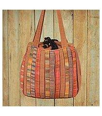 cotton shoulder bag, 'oriental brown' (thailand)