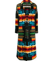 jessie western rainbow long coat - black