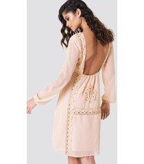 na-kd boho open back embellished dress - pink
