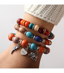 bracciale elastico nazionale multistrato con perline bracciale elastico nazionale con pendenti multistrato