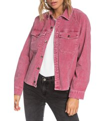 women's roxy be right there corduroy shirt jacket, size x-small - burgundy