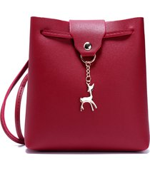 donna borsa a secchiello a tracolla con decorazione di alce borsa a spalla in colore di caramelle