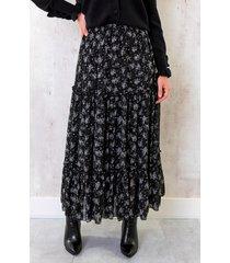 maxi bloemenprint rok zwart