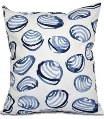 clams 16 inch blue decorative coastal throw pillow