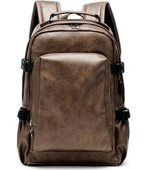uomo business pu in pelle solid backpack computer casual borsa