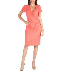 24seven comfort apparel faux wrap over dress with cap sleeves