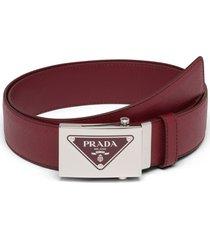 prada triangle logo belt - red