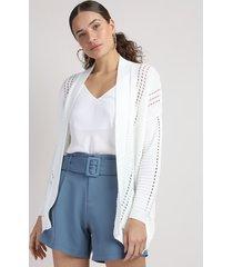 capa de tricô feminina com bolsos off white