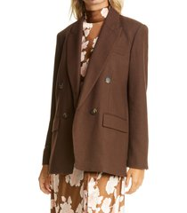 women's vince double breasted flannel blazer, size 12 - brown