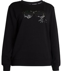 sunglasses embroidery sweatshirt