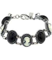 downton abbey oval stone and cameo link bracelet