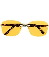 cartier eyewear c décor rimless rectangular-frame sunglasses - yellow