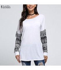 zanzea para mujer de las tapas del algodón suéter de manga larga ocasional de la camisa de la blusa del suéter del puente -blanco