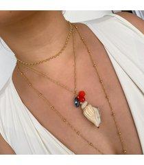 colar lua mia joias praia com maxi concha e cristais - semijoia folheada a ouro 18k