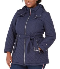 tommy hilfiger plus size belted hooded water-resistant quilted coat