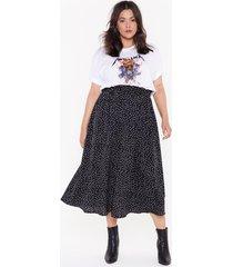 womens high-waisted plus size polka dot skirt - black